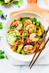 Wok-fired Orange Garlic Shrimp {One Pan Meal}
