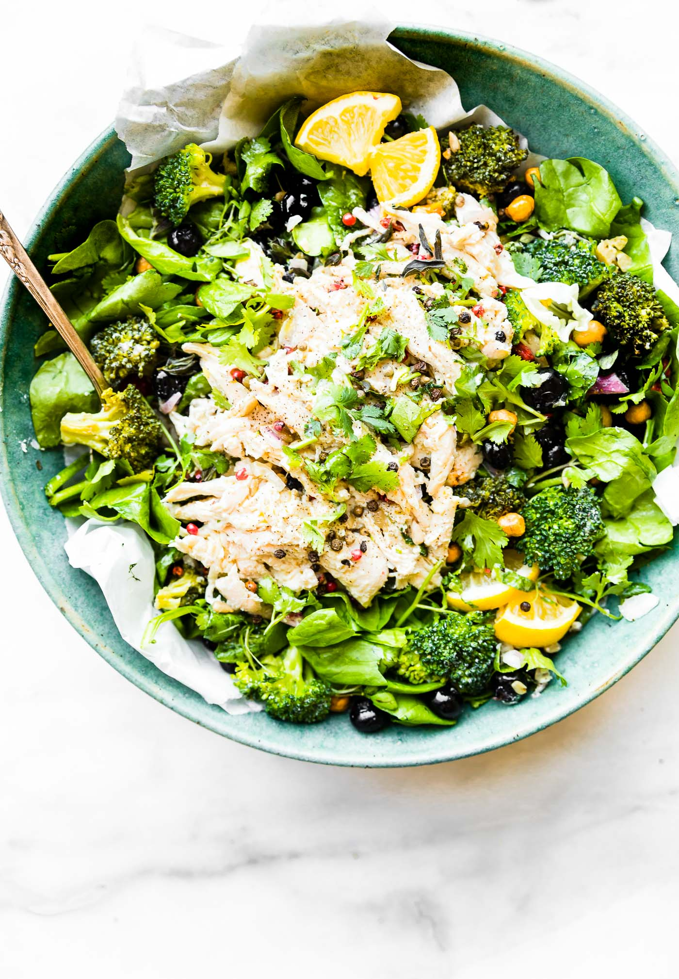 A lightened up Mayo Free Chicken Salad bowl