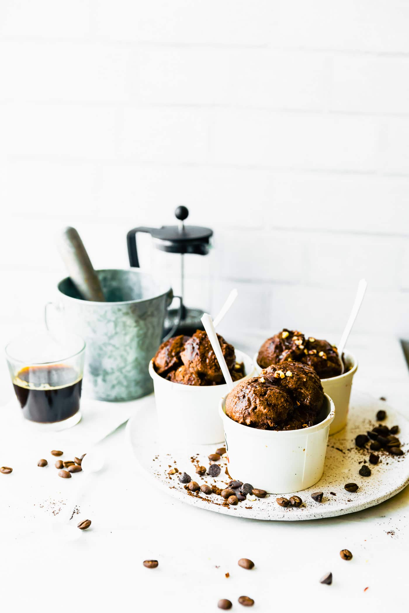 Chocolate sorbet spiked with espresso - the perfect vegan sorbet recipe for chocolate lovers who need a boost of caffeine!