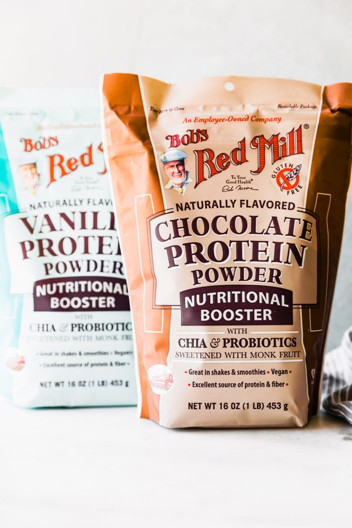 packages of bob's red mill nutritional booster - vanilla and chocolate flavors
