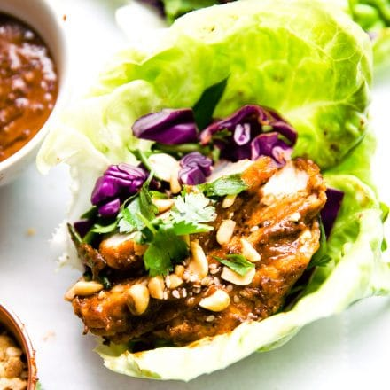 Chinese bbq pork lettuce wraps
