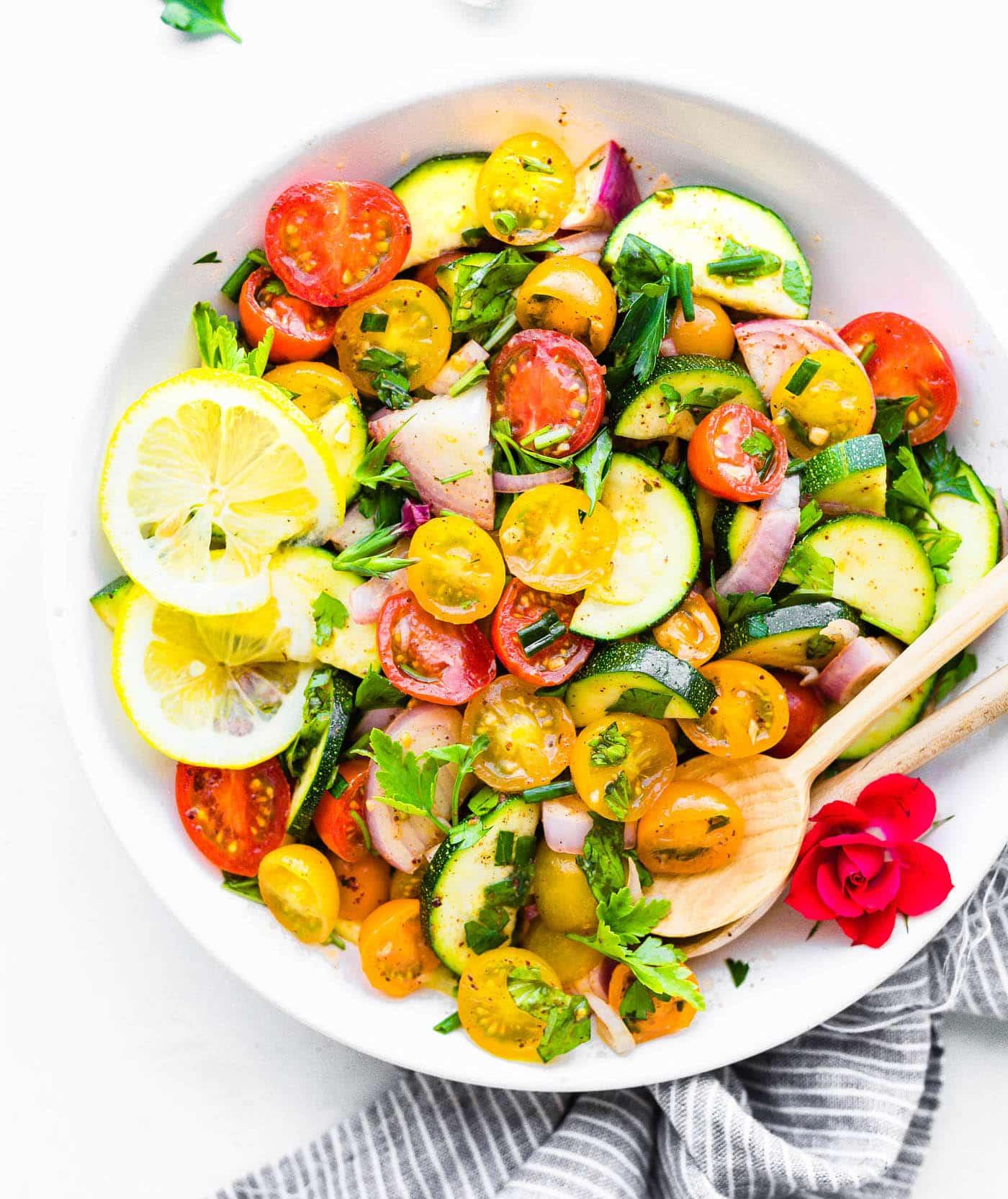 Three Herb Tomato Zucchini Salad Cotter Crunch