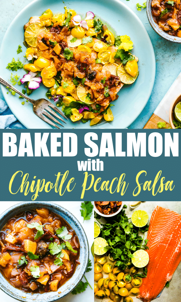 Easy Baked Salmon with Chipotle Peach Salsa! Spicy Peach relish and fresh cherry tomatoes make for a sweet and smokey salsa-style topping. A delicious accompaniment for baked salmon!. A healthy dish made all in one pan. #cottercrunch #salmon #dinner #paleo #onepanmeal #healthy #easyrecipe #dairyfree