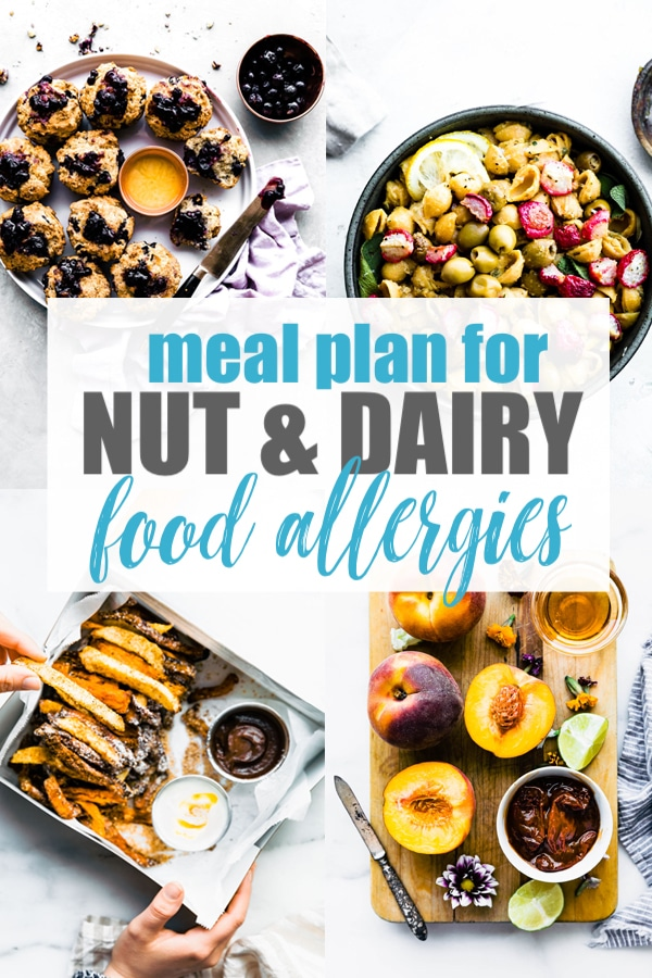 This meal plan for nut and dairy allergies is a requested meal plan from you, my wonderful readers! The healthy recipes (which are always gluten free) in this meal plan are nut free AND dairy free. Delicious meals for breakfasts, lunches, dinners, and snacks for anyone with multiple food allergies. #mealplan #mealprep #glutenfree #healthy #nutfree #dairyfree