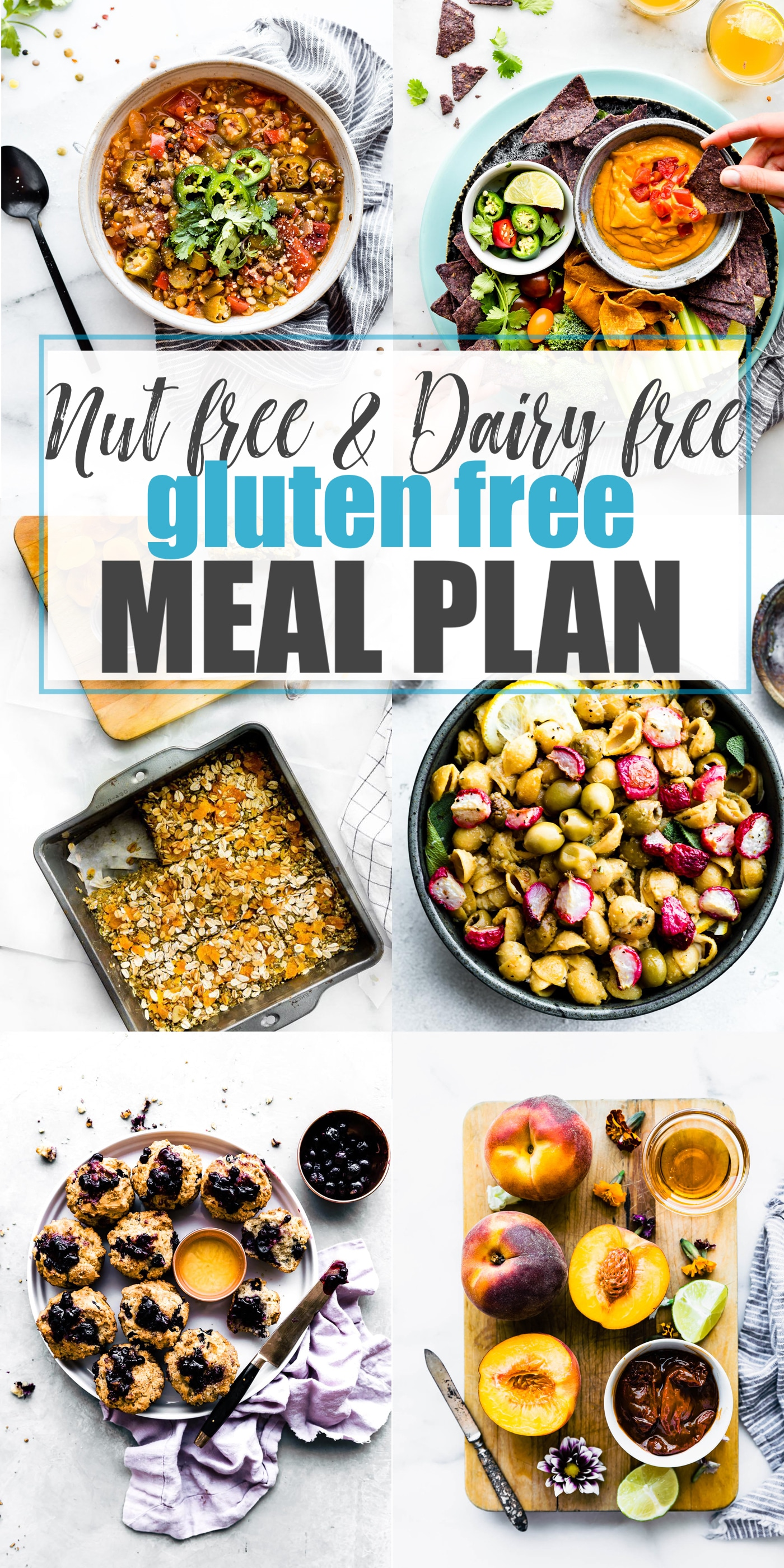 This meal plan for nut and dairy allergies is a requested meal plan from you, my wonderful readers! The healthy recipes (which are always gluten free) in this meal plan are nut free AND dairy free. Delicious meals for breakfasts, lunches, dinners, and snacks for anyone with multiple food allergies.