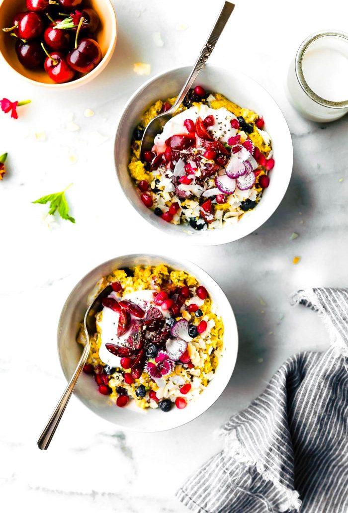 2 bowls of AIP breakfast porridge (nightshade free recipes)