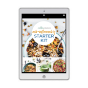 White tablet with Anti Inflammatory Starter Kit cover and several dishes from the meal plan.