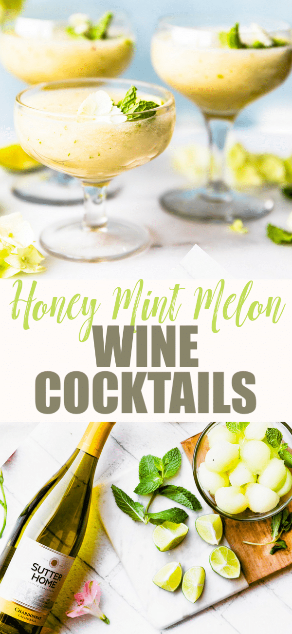 melon and white wine cocktails pin