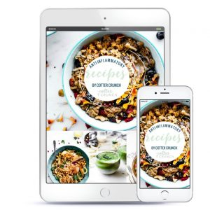 White tablet with Anti Inflammatory meal plan recipe cover and several dishes from the meal plan.