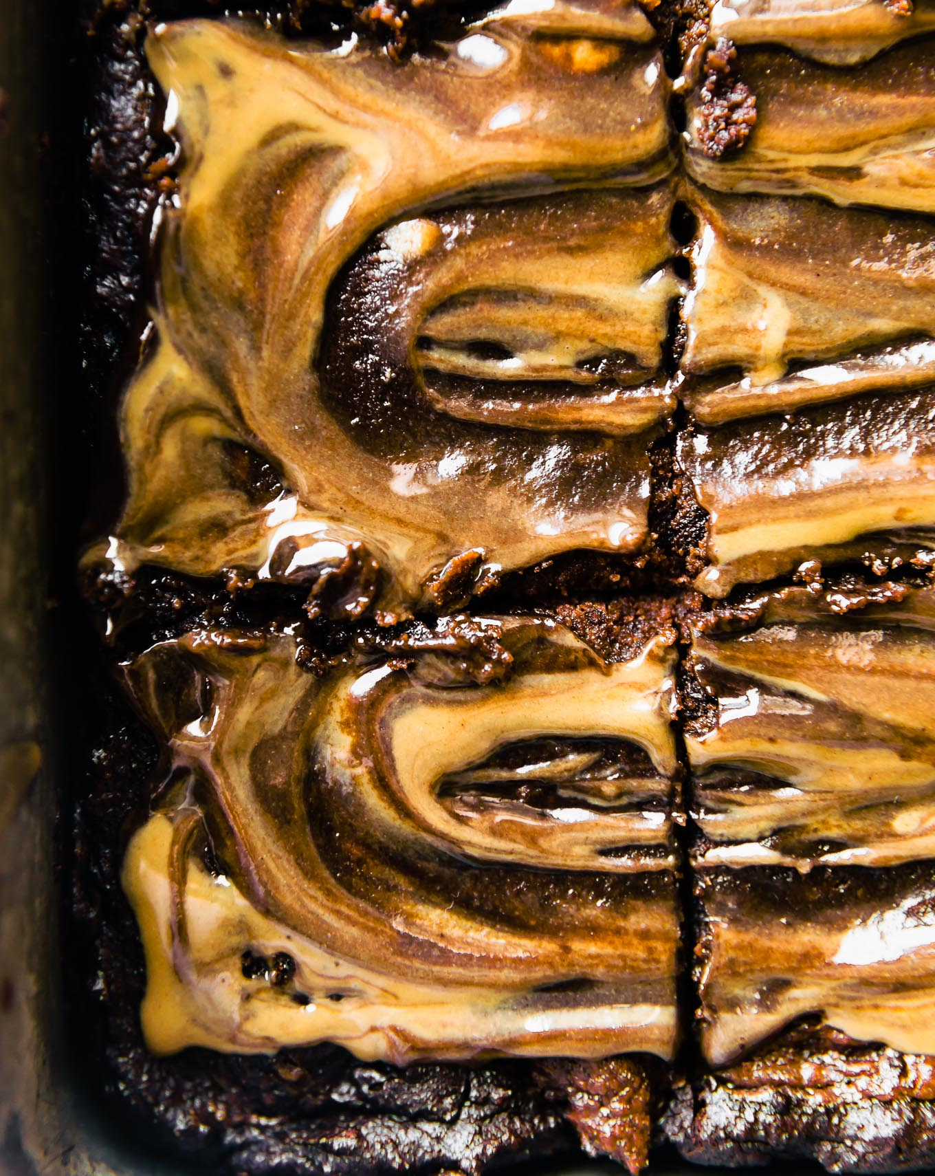 brownies cut in pan