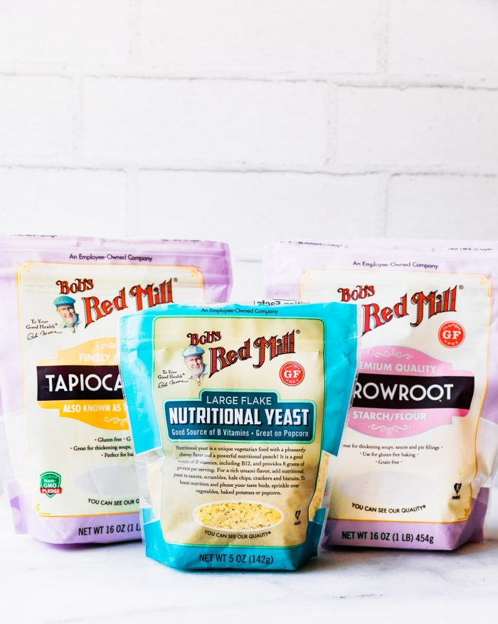 packages of Bob's Red Mill nutritional yeast, tapioca and arrowroot
