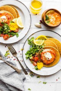 Chickpea Pancakes with Harissa Yogurt Sauce