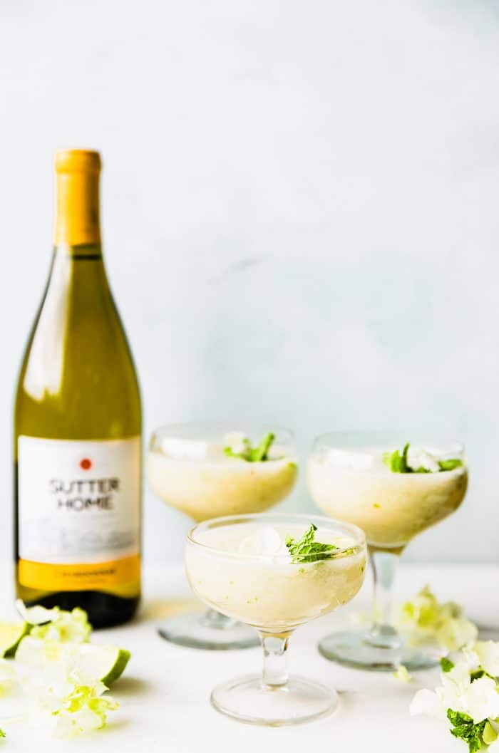 white wine cocktails made with Sutter Home chardonnay, fresh mint and fresh melon
