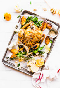Paleo One-pot Orange Honey Garlic Roasted Chicken.