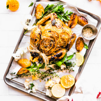 Paleo One-pot Orange Honey Garlic Roasted Chicken.