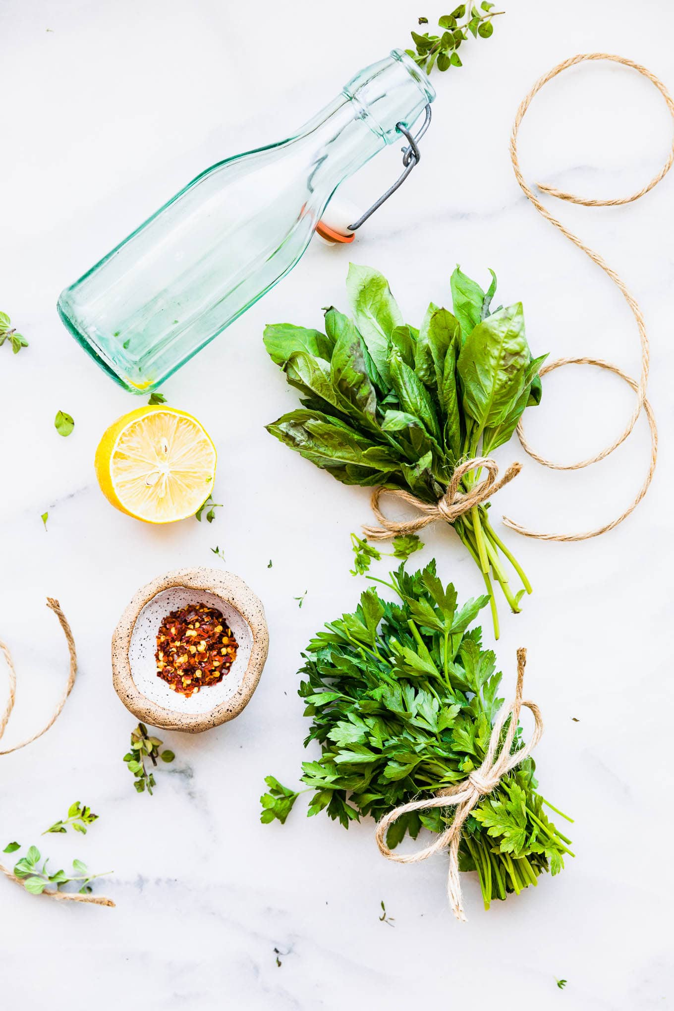 ingredients to make herb vinegar