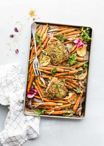 Pistachio Crusted Salmon sheet pan dinner