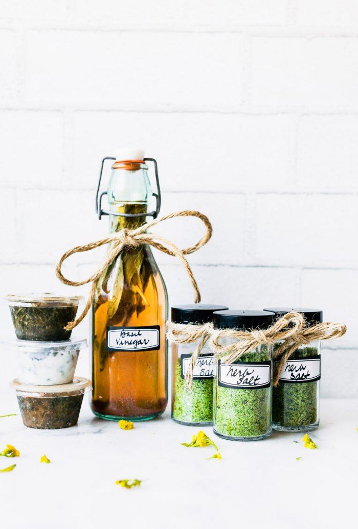 preserving fresh herbs in bottles and jars