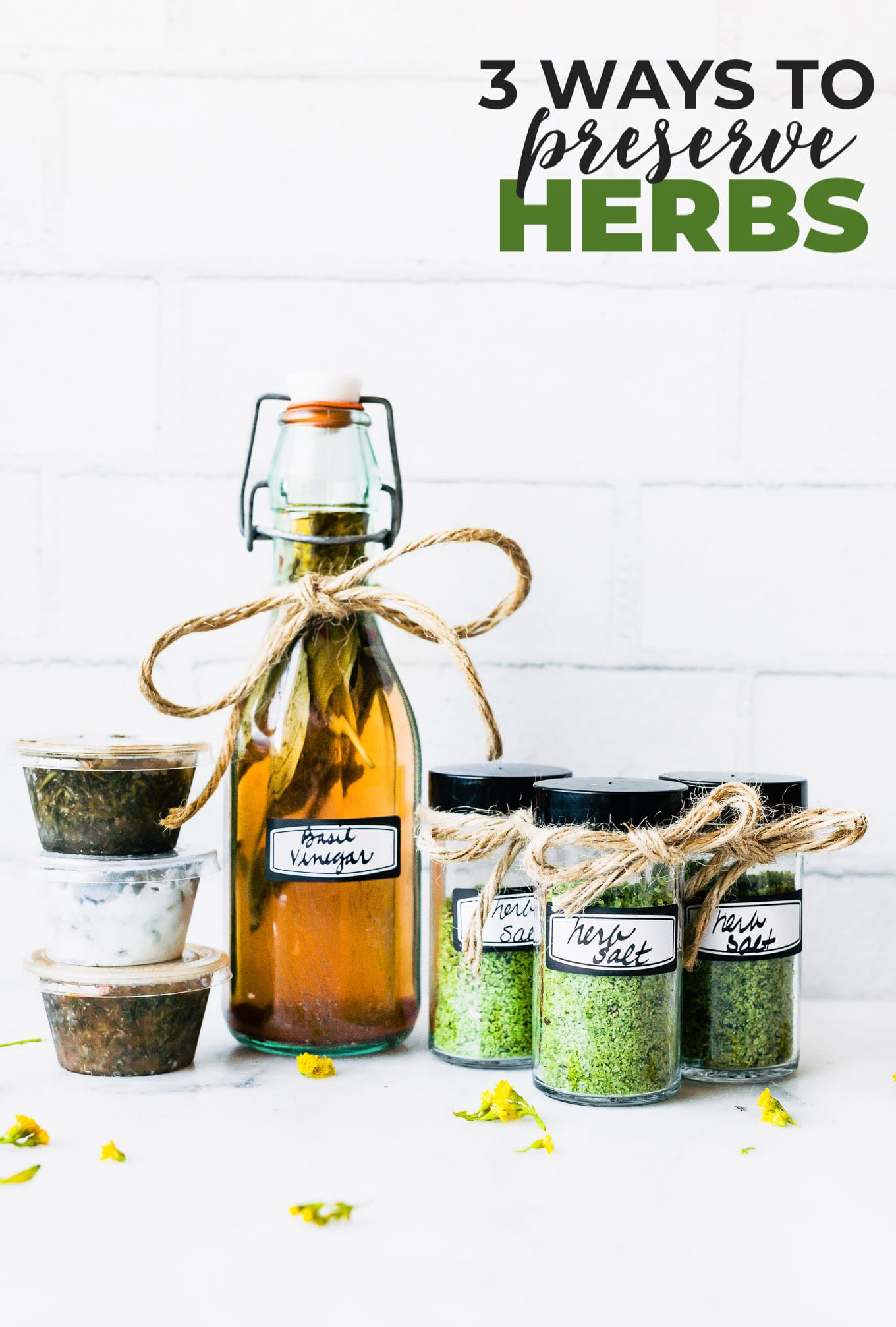 Preserving herbs is easy! Learn 3 ways to preserve fresh herbs, including freezing herbs and get recipes for an herbed salt blend and herbed vinegar.