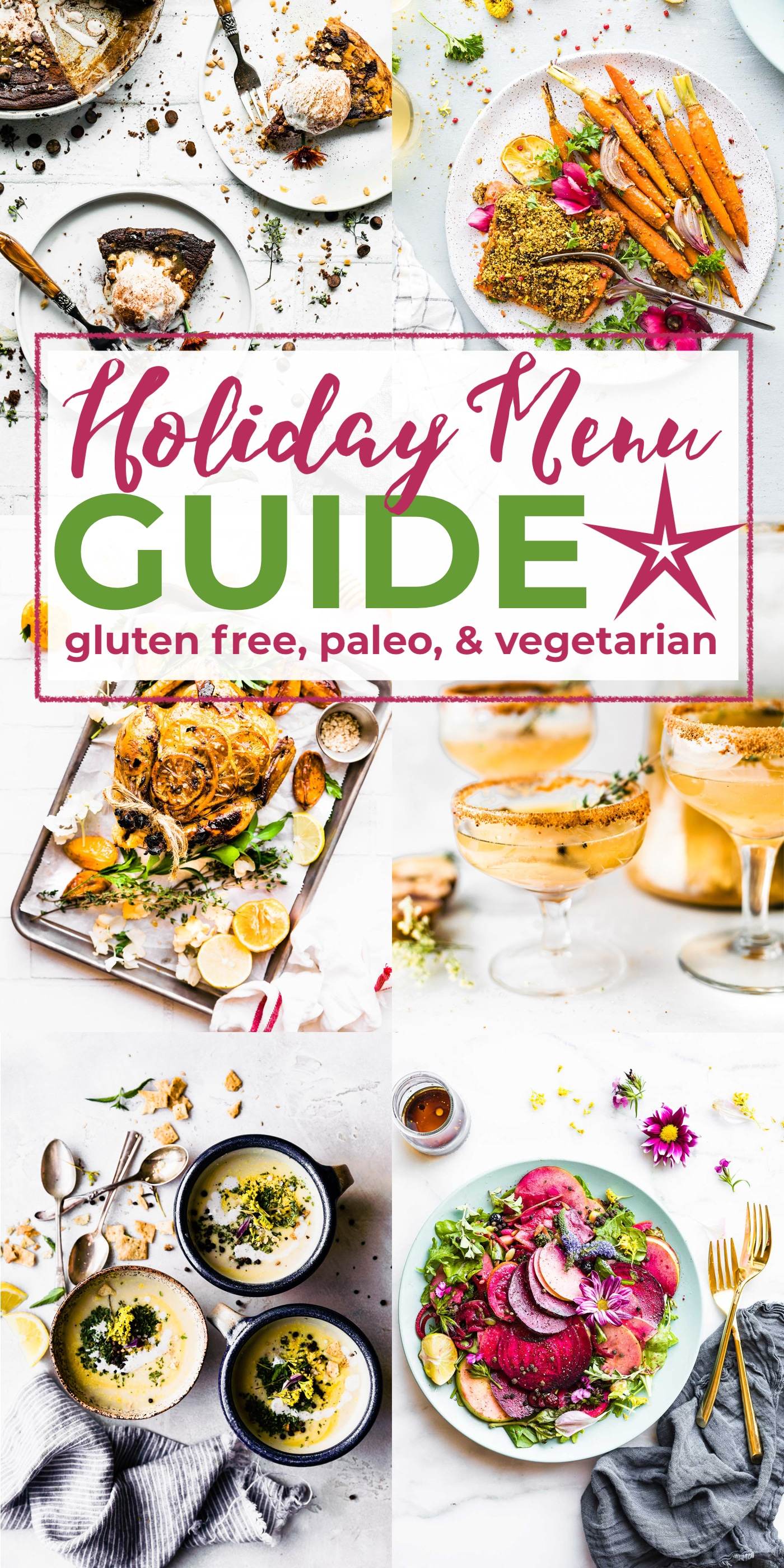 titled image: Holiday Menu Planning Guide: gluten free, paleo, and vegetarian recipes