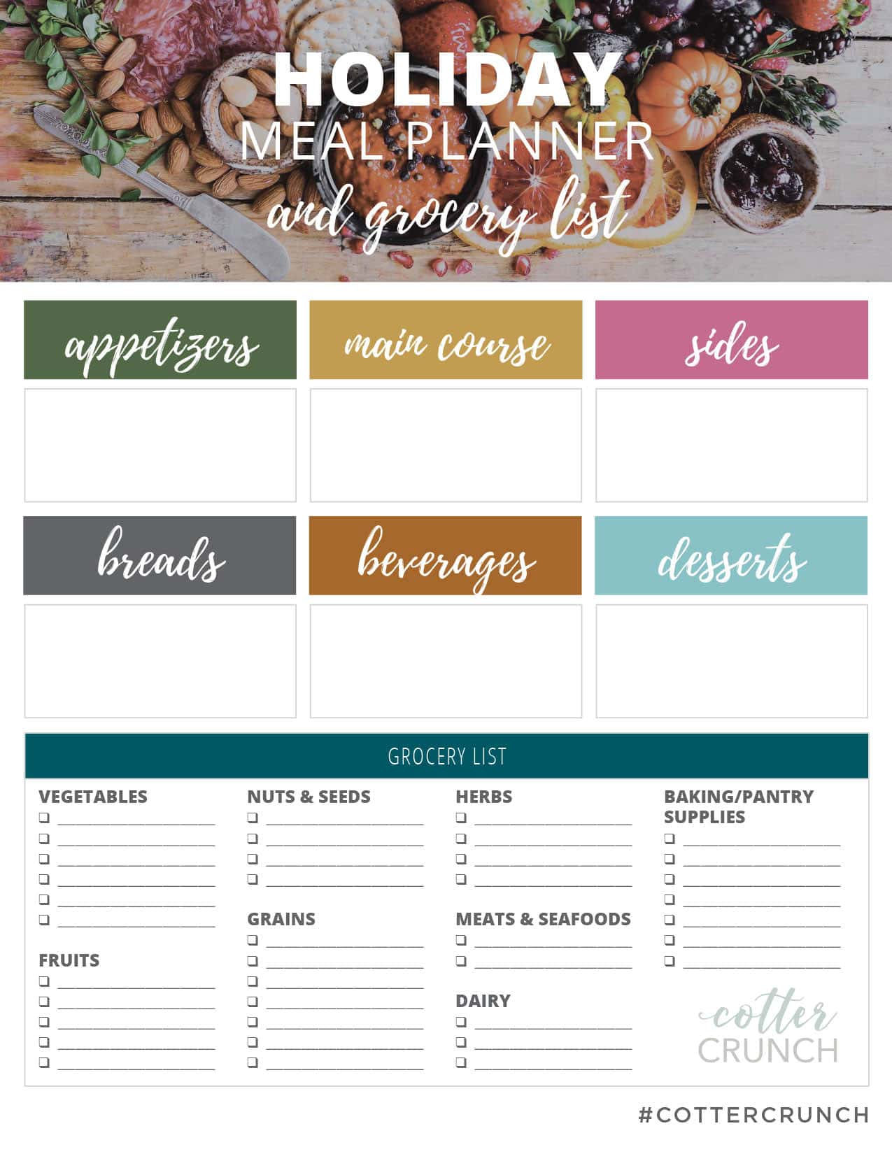 Holiday Meal Planner for Holiday menu