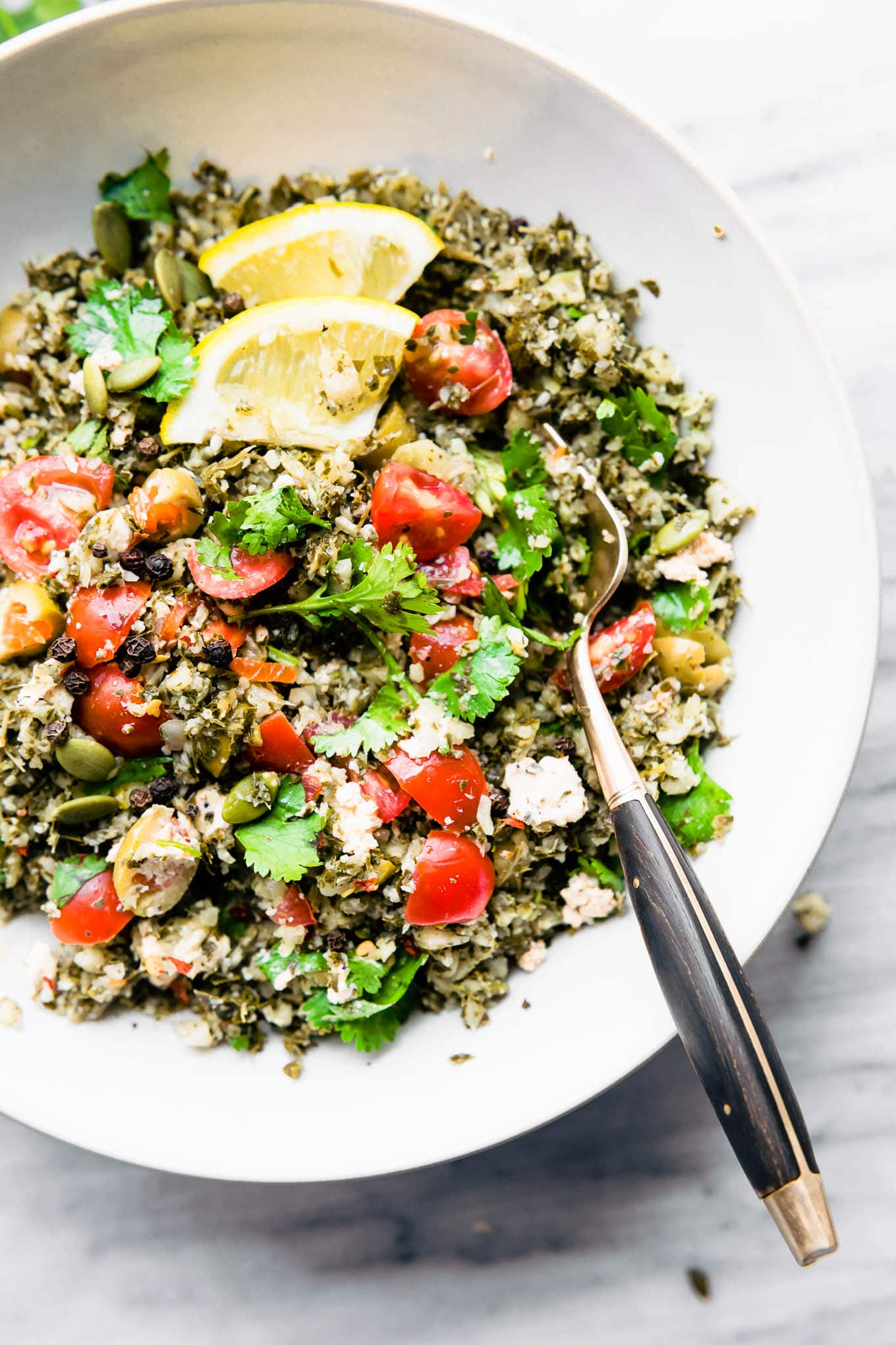 low carb Greek salad with cauliflower rice
