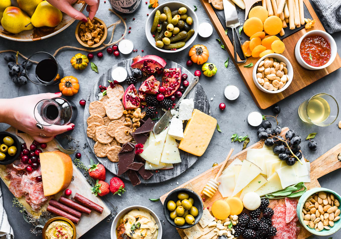 beautifully arranged cheese board for a wine and cheese party