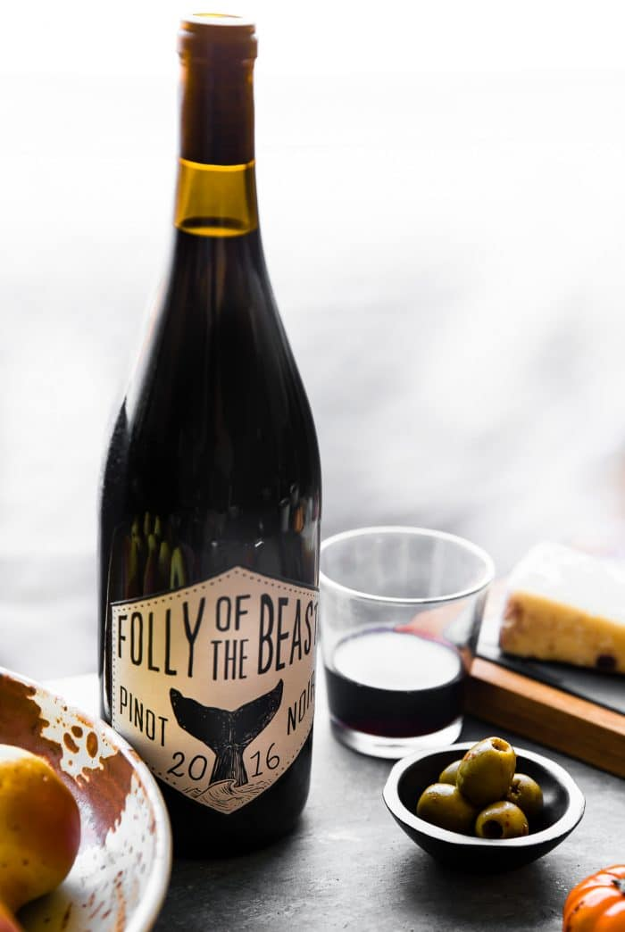 bottle and glass of pinot noir wine
