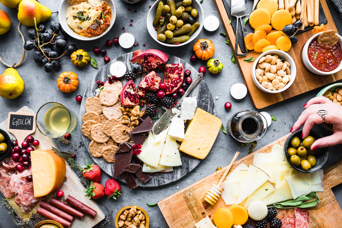 assortment of appetizers at a wine and cheese party