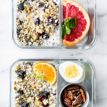 meal prep containers with overnight oatmeal and superfoods
