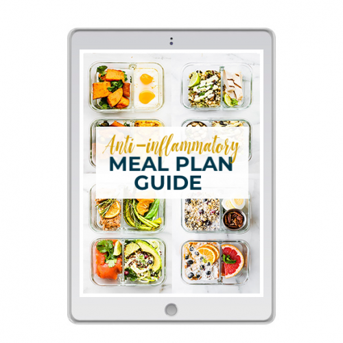 "White tablet with glass meal prep containers on screen. Text reads ""Anti Inflammatory Meal Plan Guide"""