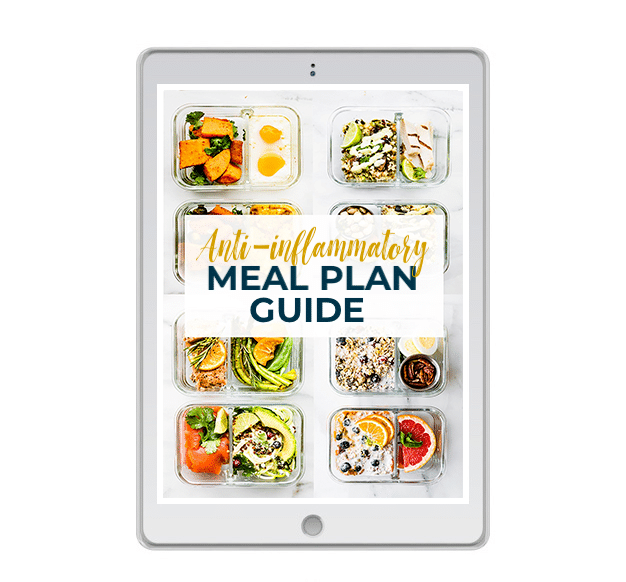 """White tablet with glass meal prep containers on screen. Text reads """"Anti Inflammatory Meal Plan Guide"""""""