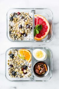 2 meal prep containers with superfood overnight oatmeal