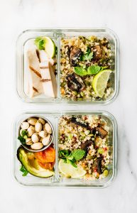 dukkah roasted vegetables salad in meal prep containers