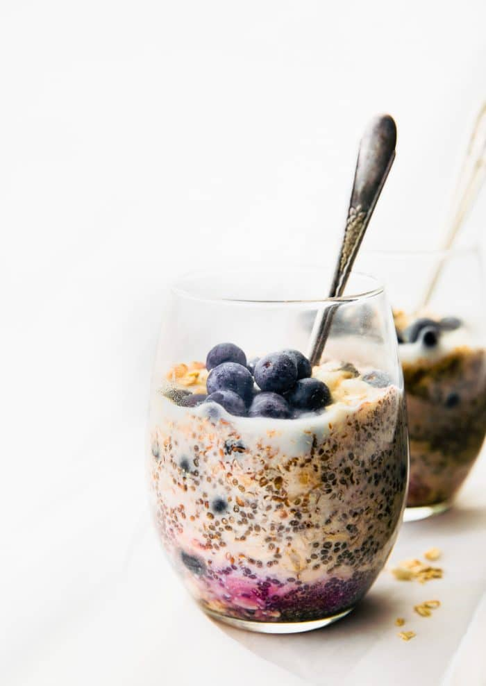 glass of overnight oatmeal made with superfoods