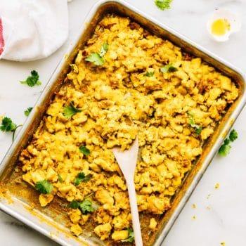 sheet pan turmeric scrambled eggs