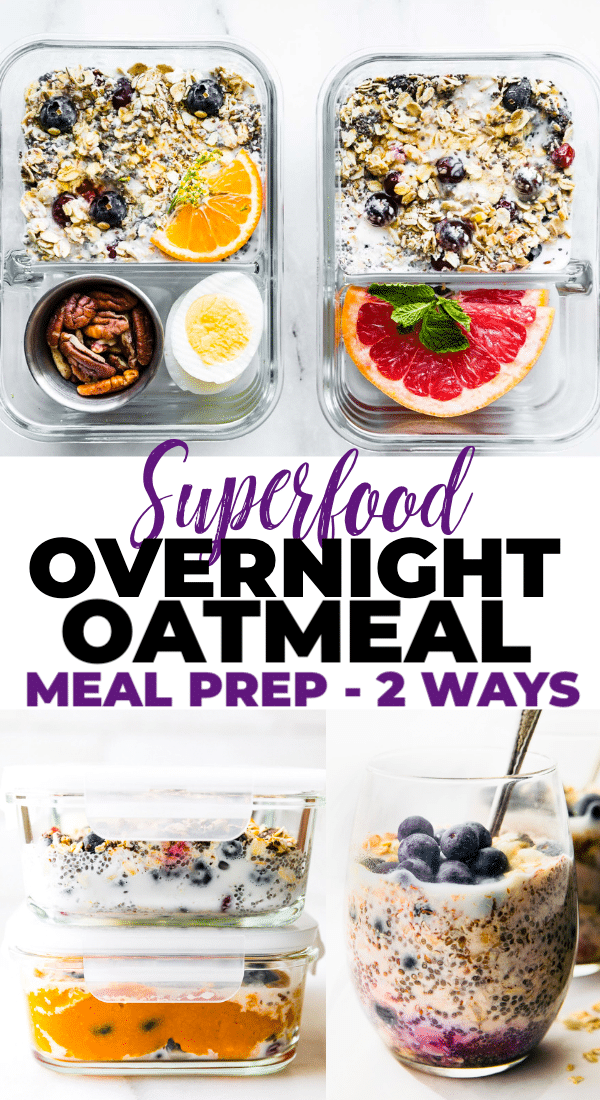 Superfood Overnight Oatmealis ahealthy meal prep breakfast idea.This vegan and gluten free breakfast recipe for Blueberries and Cream Overnight Oatmealcan be made 2 ways! s