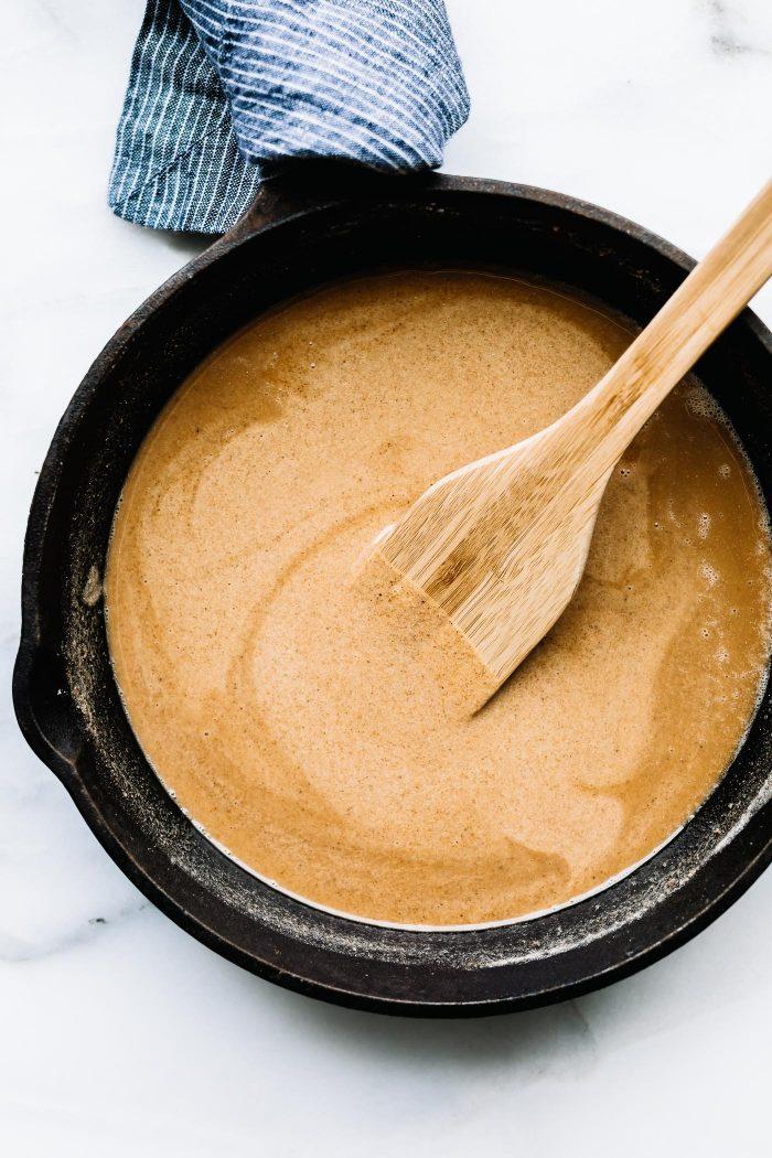 overhead image: gluten free roux in black saucepan