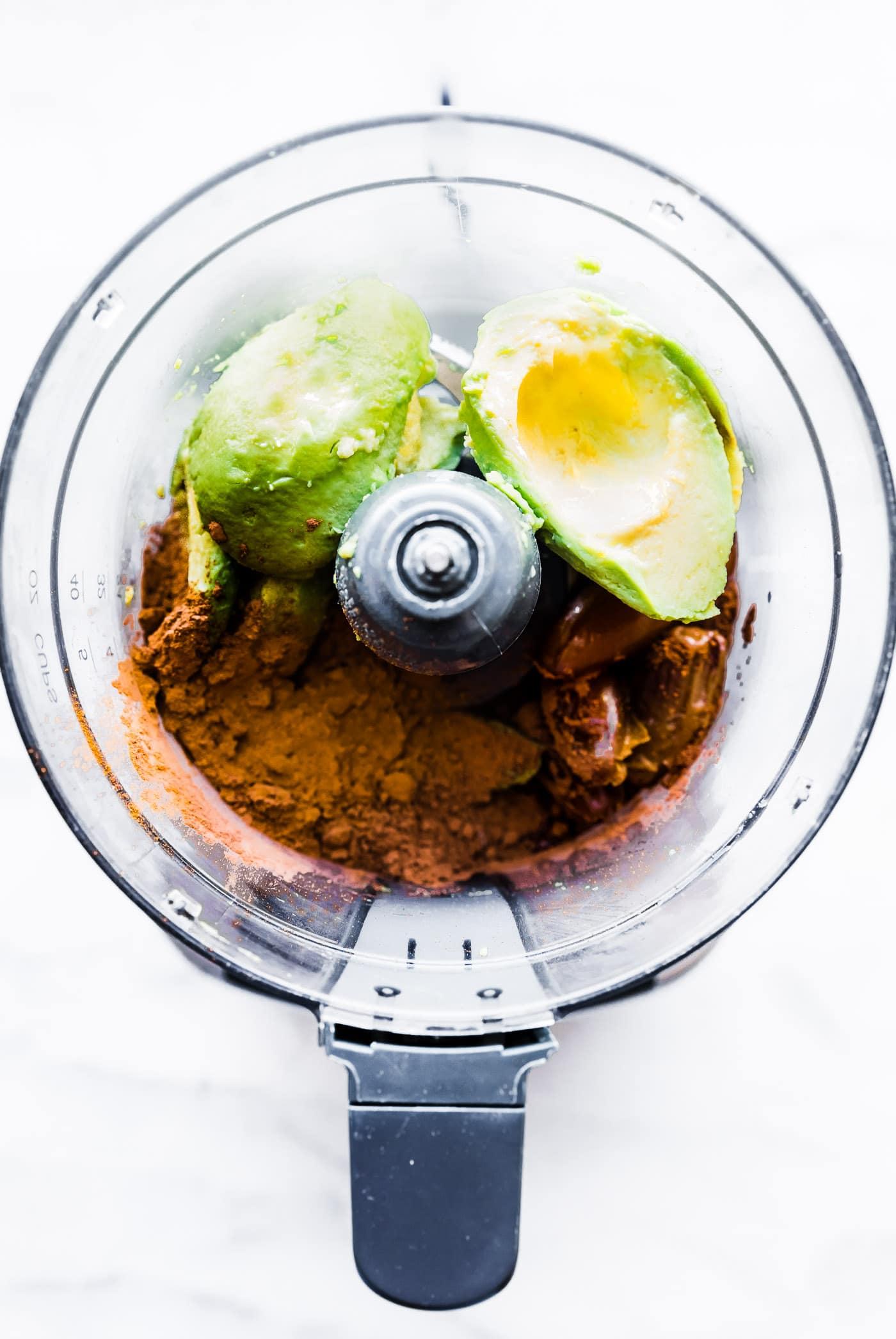 chocolate avocado mousse ingredients in blender