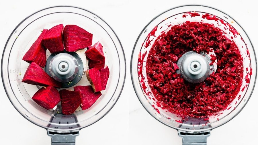 how to make riced veggies - beet rice in food processor