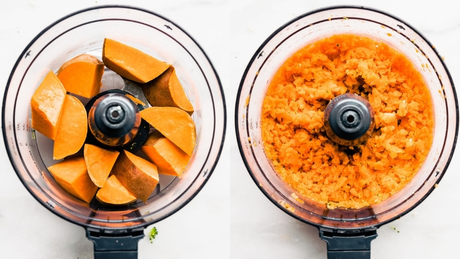 sweet potato in food processor