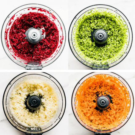 riced veggies in food processor