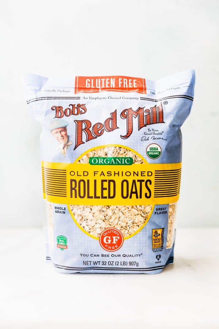 rolled oats for flourless banana bread bars