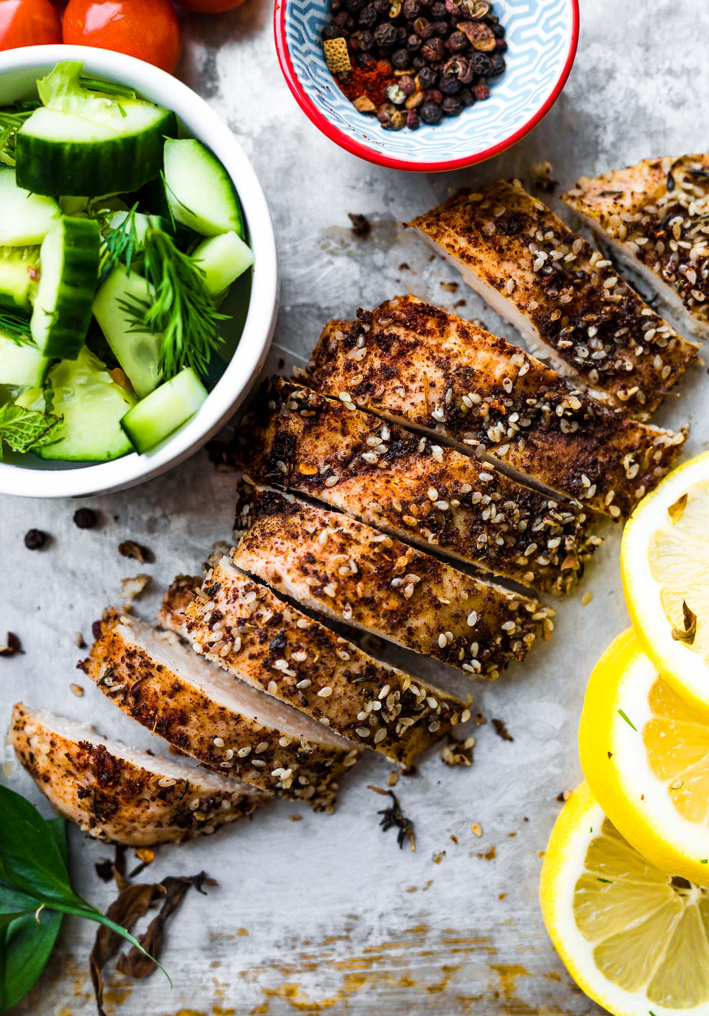 slices of za'atar chicken breast