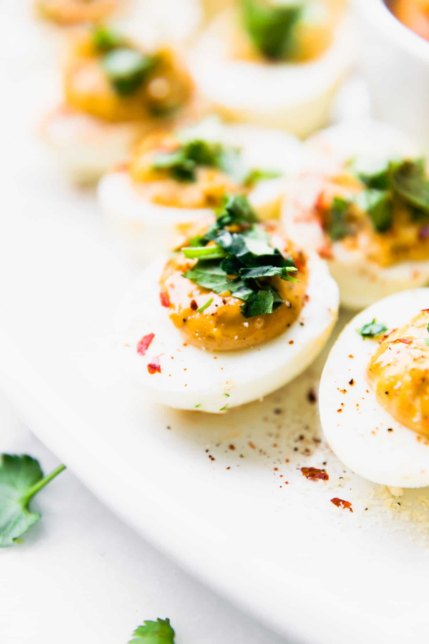 easy deviled eggs made with chipotle mayo
