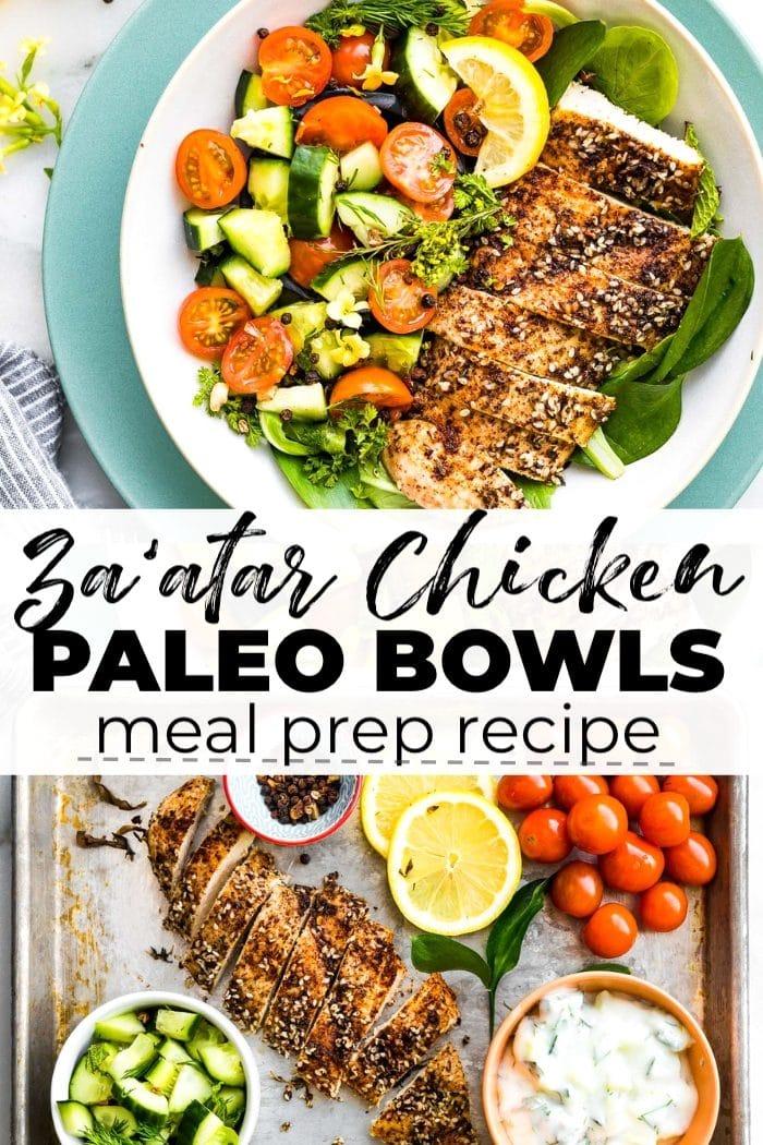 Paleo Meal Prep Recipe: Za'atar Chicken Bowls with Tomato and Cucumber Raita