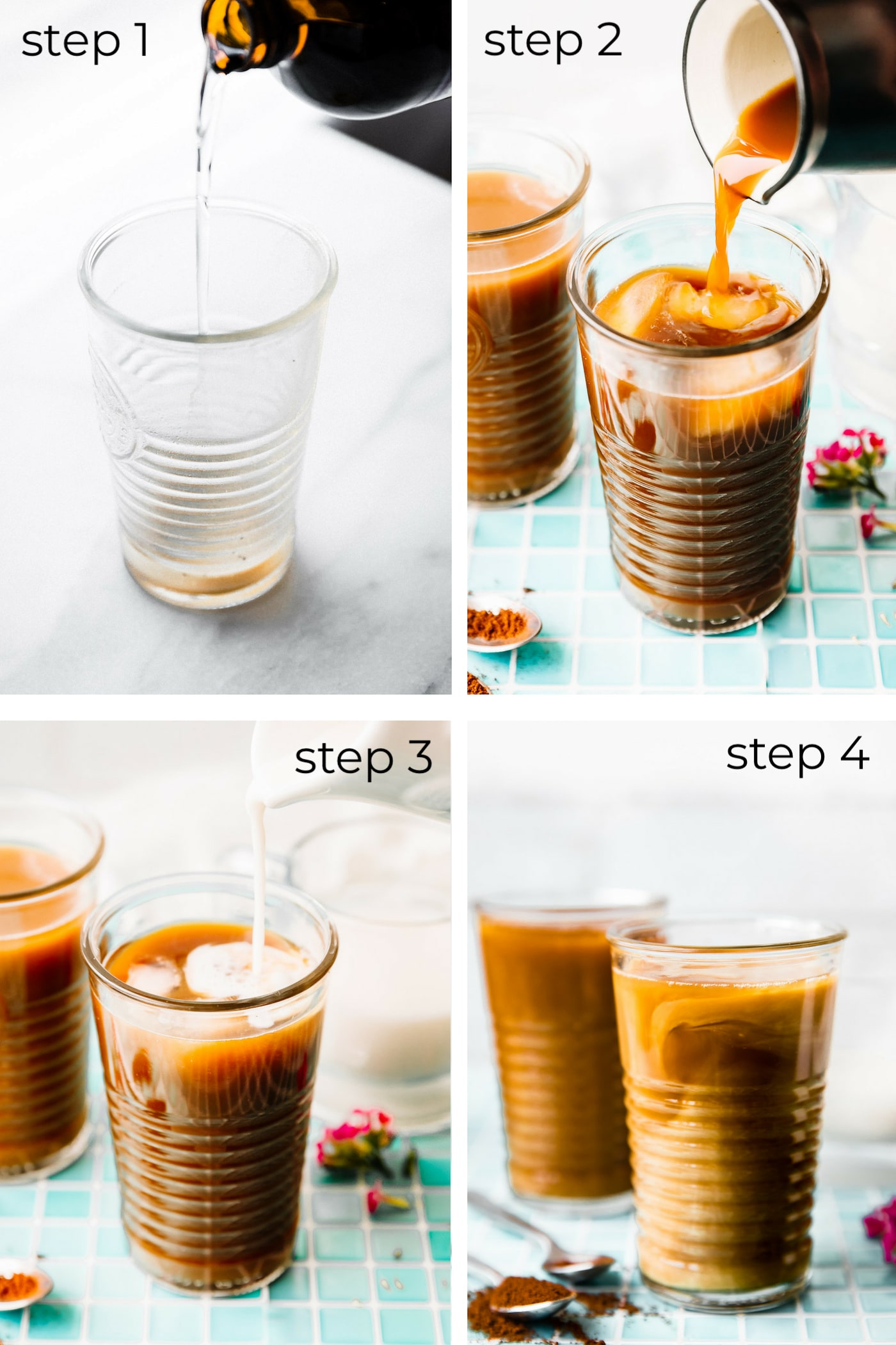 graphic - how to make iced coffee latte- vegan