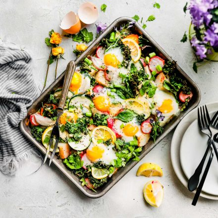 Spring roasted vegetable and baked eggs (sheet pan meal, paleo, whole 30 )