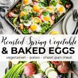 baked eggs and vegetables sheet pan meal - pin