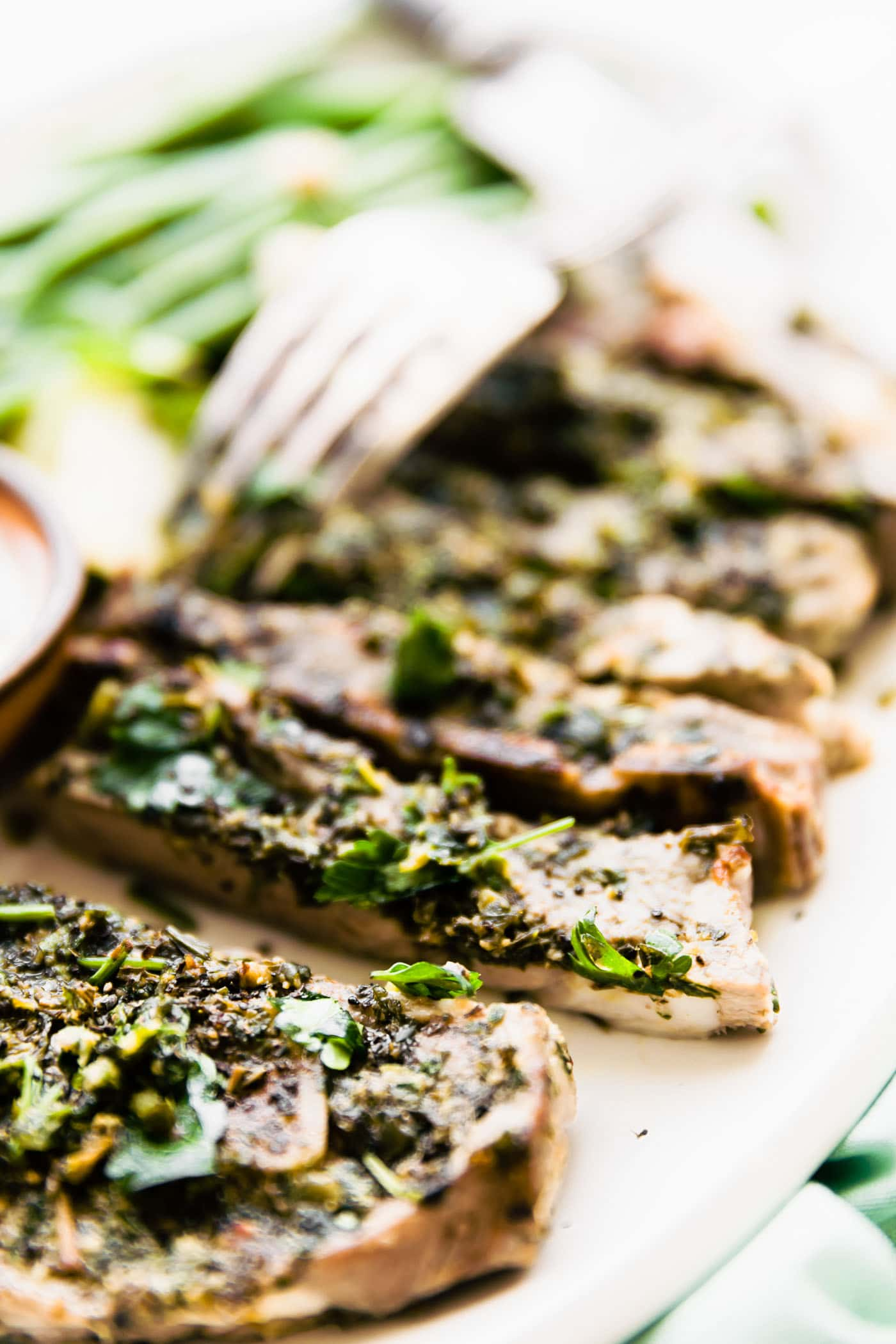 Broiled lamb chops with mini chimichurri!